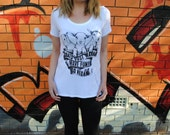 VEGAN white women's t-shirt / Goats Just Wanna Have Fun, Go Vegan / screen printed t-shirt