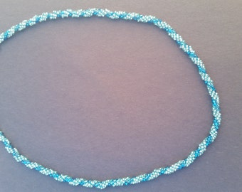 Two shades of blue spiral necklace