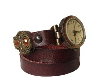 watch beautiful brown cowhide leather
