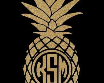 gold Glitter Pineapple Monogram Decal, Monogrammed or Solid ~  with your choice of sizes!