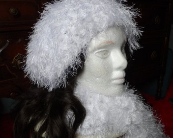 White Fuzzy Crochet Oversized Beanie Hat and Scarf Set