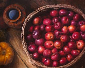 Harvest, original oil painting on canvas, still life, realism, fine art 19,7'' x 23,6'' (50 x 60 cm)