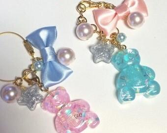 Kawaii, bag charm, bear, pastel, fairy kei, pop kei, harajuku, key chain, sweet lolita,