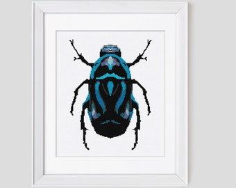 Blue Beetle Cross Stitch Pattern instant download PDF cross stitch pattern from Leaf Blown Designs