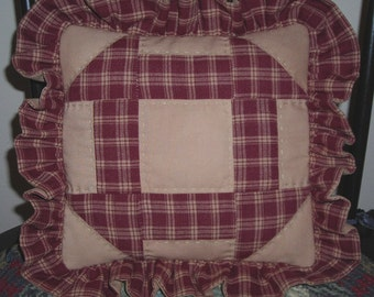 Rust and Cream Quilted Accent Pillow
