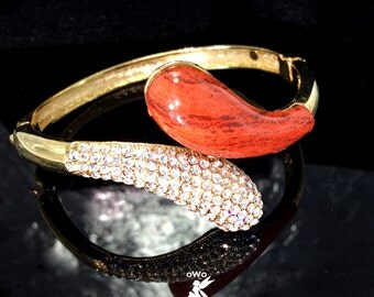 Clear Crystal  Swarovski Crystal Gold Plated Bangle Bracelet