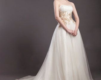 M7022 romantic sweetheart lace beaded backless A-line wedding dress 2015
