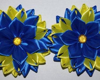 Pair of Handmade Girl's Flower Hairband/Bobbles, School/Party