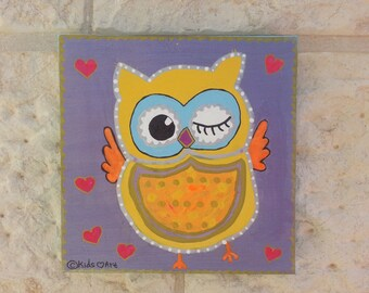 Winking Owl Painting (8''X 8''), Perfect for a nursery or kids room wall hanging decor. Hand painted one-of-a-kind acrylic on canvas