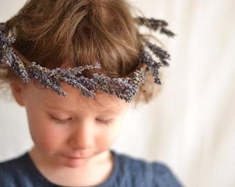 Purple Lavender Rustic Floral Crown for Bride Bridesmaids or Flowergirls Flower Headband Wedding Accessory Bridal Headpiece Festival