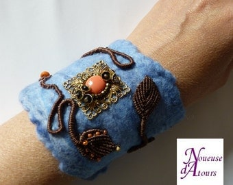 Blue Cuff Bracelet felted wool and micro-macrame
