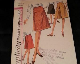 Vintage Simplicity Skirt Pattern 6091 Size 30 Waist 40 Hips