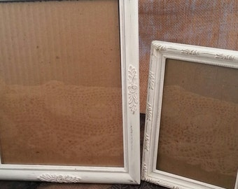 Pair of Lovely Shabby Chic Picture Frames, Hand Painted White and Distressed