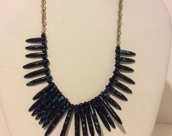 Black spotted spiky tribal statement necklace