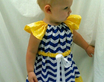 Nautical Chevron Toddler Peasant Dress 24 months
