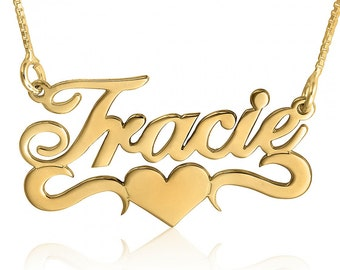 Name Necklace - Gold Plated Name Necklace Tracie Name Necklace Tracie Necklace Customized Name Necklace