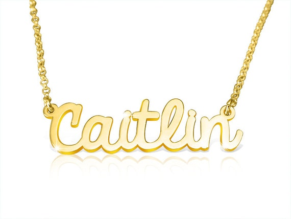 14k gold name necklace gold nameplate necklace real gold name
