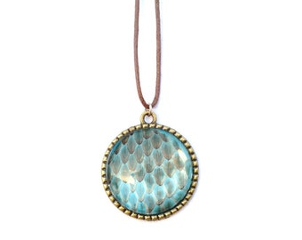 Real Snakeskin Necklace- Bright Blue