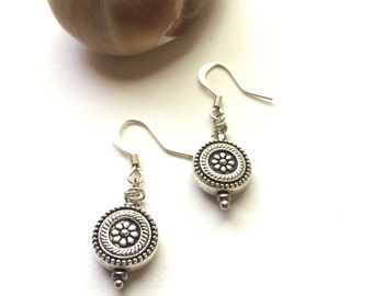 Silver Earrings Sterling Silver Earrings Dangle Drop Simple Earrings Boho Earrings Bridesmaid Earrings Gift Round Earrings Gifts for Her