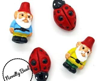4 - Small - Gnome & Lady Bug Beads - Garden Gnome - Red Cap Gnome - Novelty - Ceramic