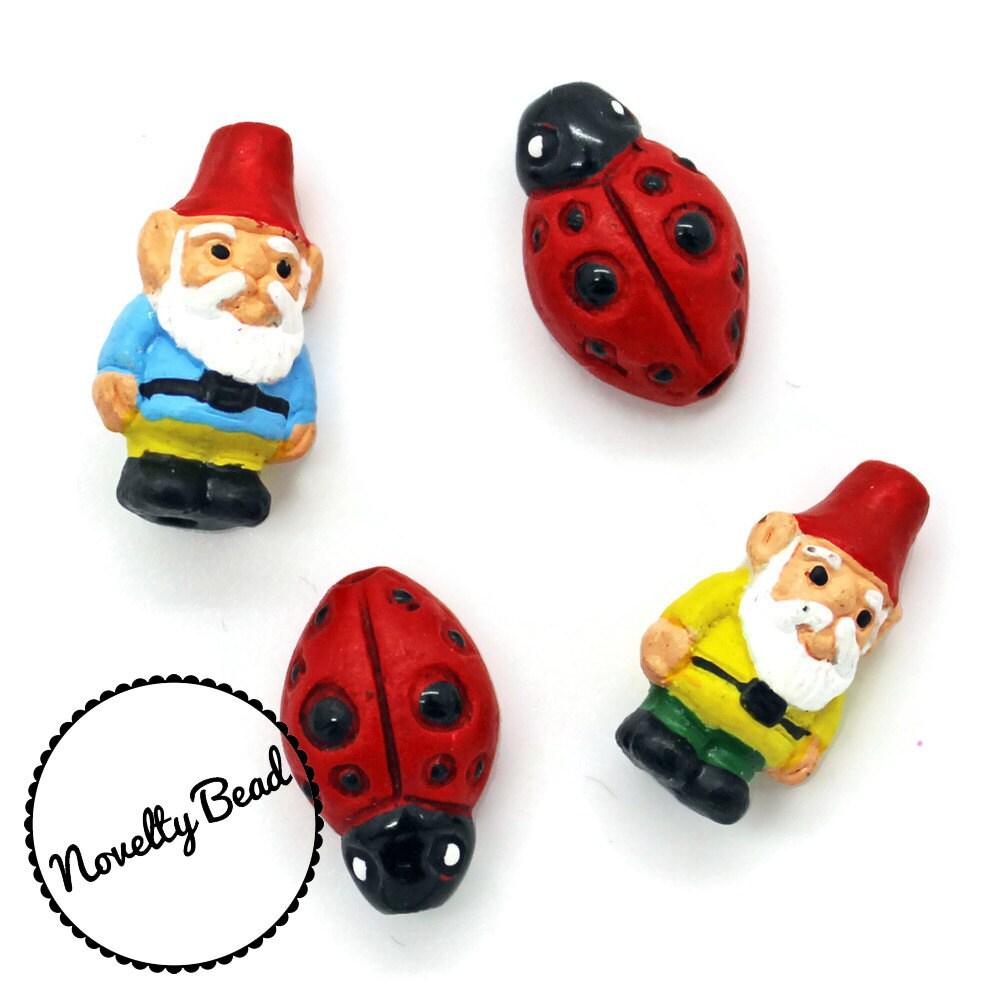 Gnome 4: 4 Small Gnome & Lady Bug Beads Garden Gnome Red Cap