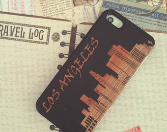 Laser Engraved Downtown Los Angeles Skyline silhouette on Genuine Wood Cell phone Case for iPhone 5/S, 6/S and 6 plus IP-033