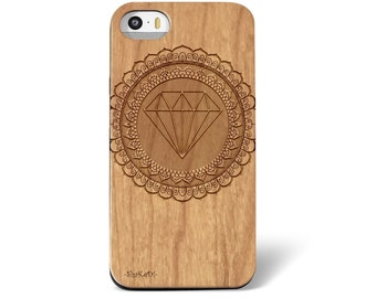 Laser Engraved Mandala Doodle Inspired Pattern Diamond Bling on Wood phone Case for iPhone 5/S 6/S and 6+ IP-035