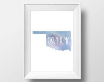 Oklahoma State Blue Watercolor Printable Art, Oklahoma State Print, Oklahoma Art, Modern Art,