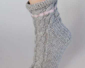 Ladies pale grey pure cashmere handmade bed socks by Willow Luxury - (to fit ladies shoe sizes UK 4-6, US 6-8, European 37-39)