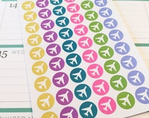 54 Colorful Airplane Planner Stickers- Travel Day Reminder Planner Stickers- perfect for your Erin Condren planner or wall calendar
