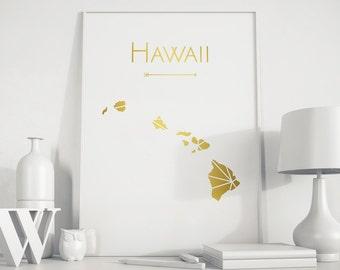 Hawaii art  Hawaii print Hawaii map Hawaii wall art Hawaii poster Gold art Hawaii print Hawaii state map USA art Map wall decor art print