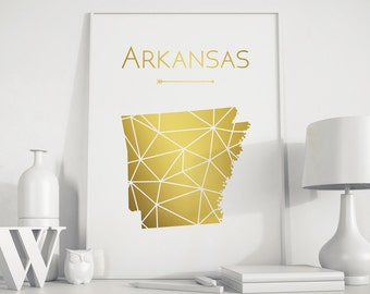 Arkansas State art Arkansas map Arkansas print Arkansas art Arkansas wall art  USA art Printable art wall decor art print Geometric Gold art