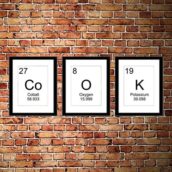 Kitchen Set Node Attributes: Kitchen Periodic Table Art Minimalist Black And White Geek