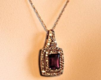 SALE  Rose Gold Amethyst & Diamond Pendant Necklace