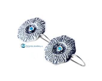 Blue Opal Earrings, Silver Opal earrings, Silver earrings, October birthstone earrings, Fall earrings, wedding gift, handmade