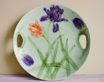 Antique German Majolica Orange and Purple Tulips Platter, made by Zell Germany, Art Nouveau period, marked with well known Zell clover mark