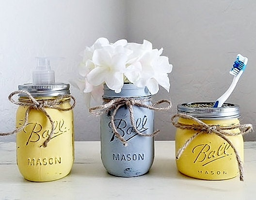 yellow and grey bathroom decor 3 piece bathroom by myheartbyhand