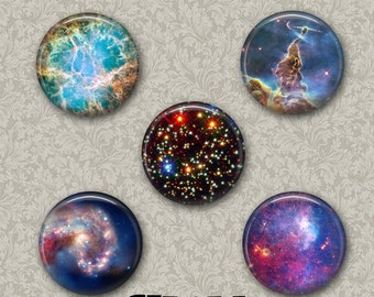 "Space 5 Button Set 1.25"" Pinback Button, Flatback or Fridge Magnet, Badge, Science, Astronomy, Teacher, Nebula, Galaxy, Stars Universe Set 8"