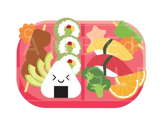 bento box clipart kawaii bento clip art for planner stickers japanese food lunch box lunchbox. Black Bedroom Furniture Sets. Home Design Ideas