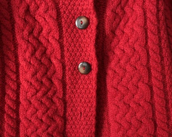 Irish red cable knit cardigan - 100% wool - Sz S