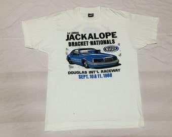 Clearance sale - vintage 80s 1988 nhra national hot rod association Douglas raceway screen star blend poly cotton 50/50 t shirt