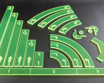Star Trek Attack Wing Compatible Laser Cut Acrylic Templates and Range Finder Set