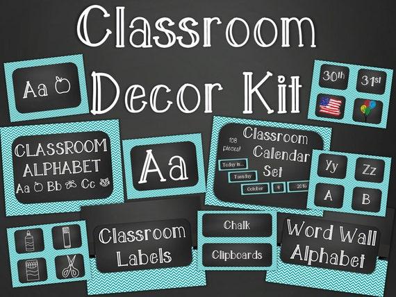 Classroom Decor Download ~ Chalkboard classroom decor kit turquoise chevron printable