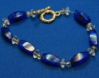 Vintage Blue Art Glass Swarovski Crystal Toggle Bracelet