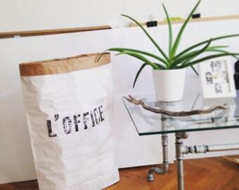 L'OFFICE Paperbag storage, handmade letterpress designed Sac de rangement, Sac en papier, Paper bag, papiertüte aufbewahrung, cadeau, gift