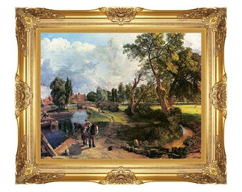 Framed Wall Art Flatford Mill on the River Stour John Constable Print on Canvas Painting Reproduction - Sizes Small to Large - M00424
