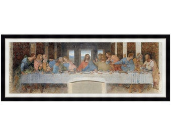 Panoramic The Last Supper Leonardo Da Vinci Christian Art Framed Canvas Renaissance Painting Reproduction - Sizes Small to Large - M02002