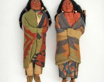Pair of Large Skookum Dolls, Circa 1940-1950, Native American