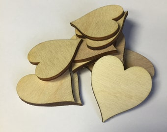 Wooden Hearts, QTY: 100 Wood Heart Craft Supplies - Pick Your Quantity, Heart made of wood
