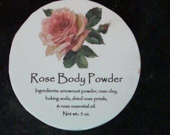 Rose Body Powder, Rose Powder, Powder, Body Powder, Handcrafted Powder, Talc Free Piwder, Dusting Powder, Bath Powder, Body Powder, Handmade